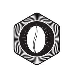 Decorative hexagon emblem of coffee bean black vector