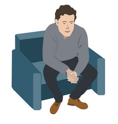 Depressed or tired man on sofa vector