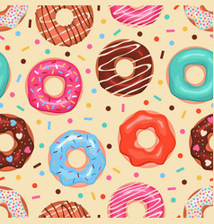 donuts seamless pattern colored doughnuts vector image