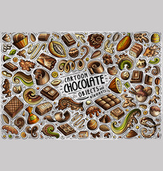 doodle cartoon set chocolate theme items vector image