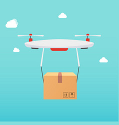 drone carrying carton box delivery concept vector image