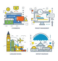 E-commerce project management language school vector