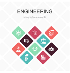 Engineering infographic 10 option color design vector