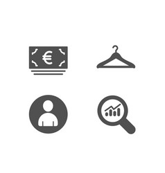 Euro currency avatar and cloakroom icons data vector