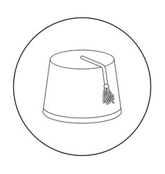 fez icon in outline style isolated on white vector image