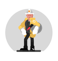 Fireman standing with fire hose vector