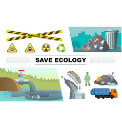 flat ecology pollution infographic concept vector image