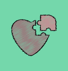 Flat shading style icon puzzle heart vector