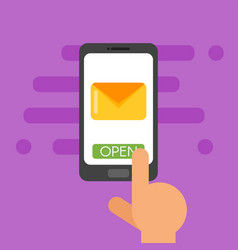 flat style of mail smartphone screen vector image