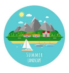 Flat summer landscape with mountains vector image