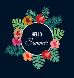 floral summer background with tropical leaves and vector image