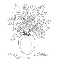 flowers in a vase contours vector image