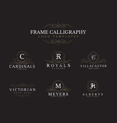 frame decoration logos templates set vector image