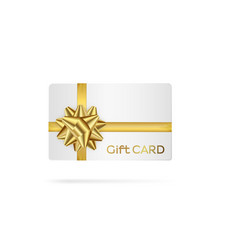 Gift white card with golden ribbon vector