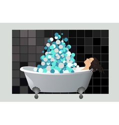 Girl in a foam bath vector image