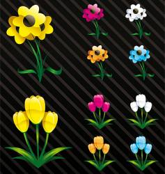 Glossy flowers web 2 style vector