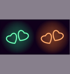 Green and orange neon pair of hearts vector