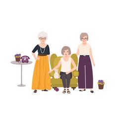 Group of smiling elderly women dressed in elegant vector