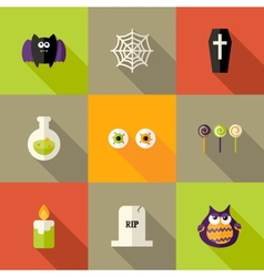 Halloween squared flat icons set 1 vector