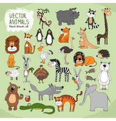 Hand-drawn wild animals collection vector