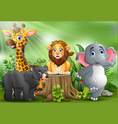 Happy animals cartoon in the park with green plant vector