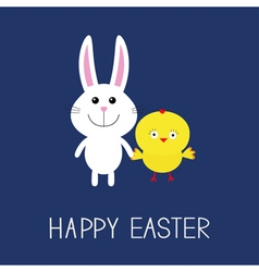 Happy Easter Cute bunny rabbit and chicken Round vector image