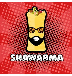 Hipster shawarma with sunglasses in pop art style vector