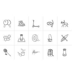 Hobby hand drawn sketch icon set vector