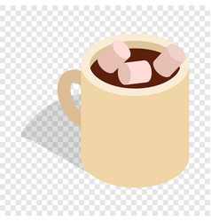 Hot chocolate with marshmallows in cup isometric vector