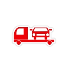 Icon sticker realistic design on paper tow truck vector