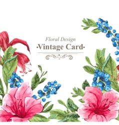 Invitation vintage card with blueberries pink vector