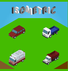 Isometric automobile set of freight first-aid vector