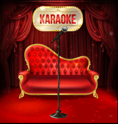 karaoke concept red sofa with microphone vector image