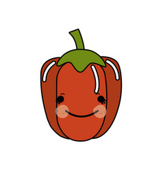 kawaii cute happy pepper vegetable vector image