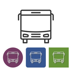 Line icon of bus in different variants vector