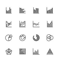 Line icon set graphic chart diagram editable vector