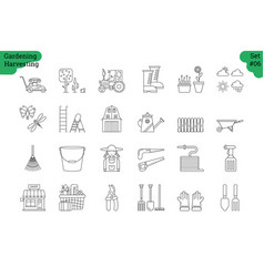 linear icon set 6 - gardening harvesting vector image