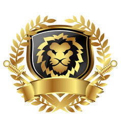 lion head and shield heraldry vector image