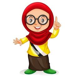 Little girl from Brunei pointing finger vector image