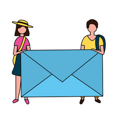 man and woman holding envelope email vector image