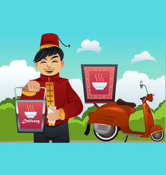 man delivering chinese food vector image