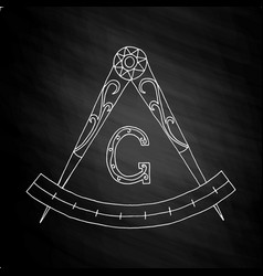 Masonic freemasonry emblem on chalkboard vector
