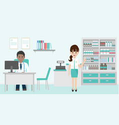 Medical team doctor and pharmacist in hospital vector