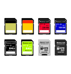 memory cards in on white background vector image