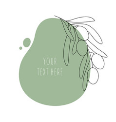 Minimal olive leaf on abstract shapes background vector