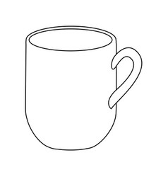 monochrome contour with mug of coffee close up vector image