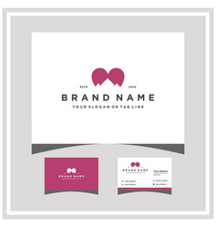 Mountain love logo design and business card vector