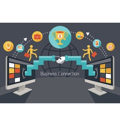 Online Connection Concept Shake Hands Achievement vector image