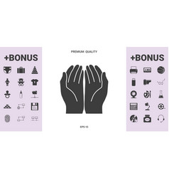 open hands icon - graphic elements for your design vector image