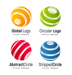 Orange global logo template green circular simple vector